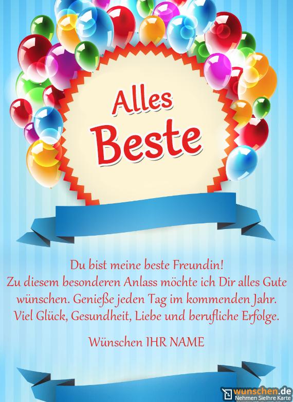 Beste Wünsche Mit Luftballons Geburtstag Karte